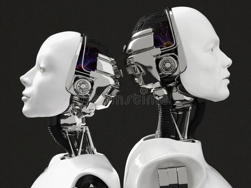 перевод 3D голов женского и мужского робота иллюстрация вектора