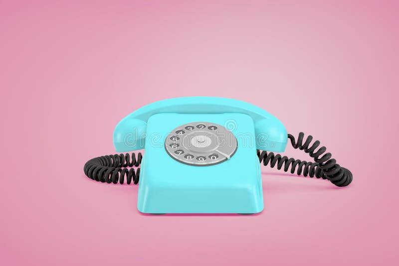 перевод 3d голубого ретро роторного телефона с приемником на шнуре стоит на розовой предпосылке стоковое фото rf