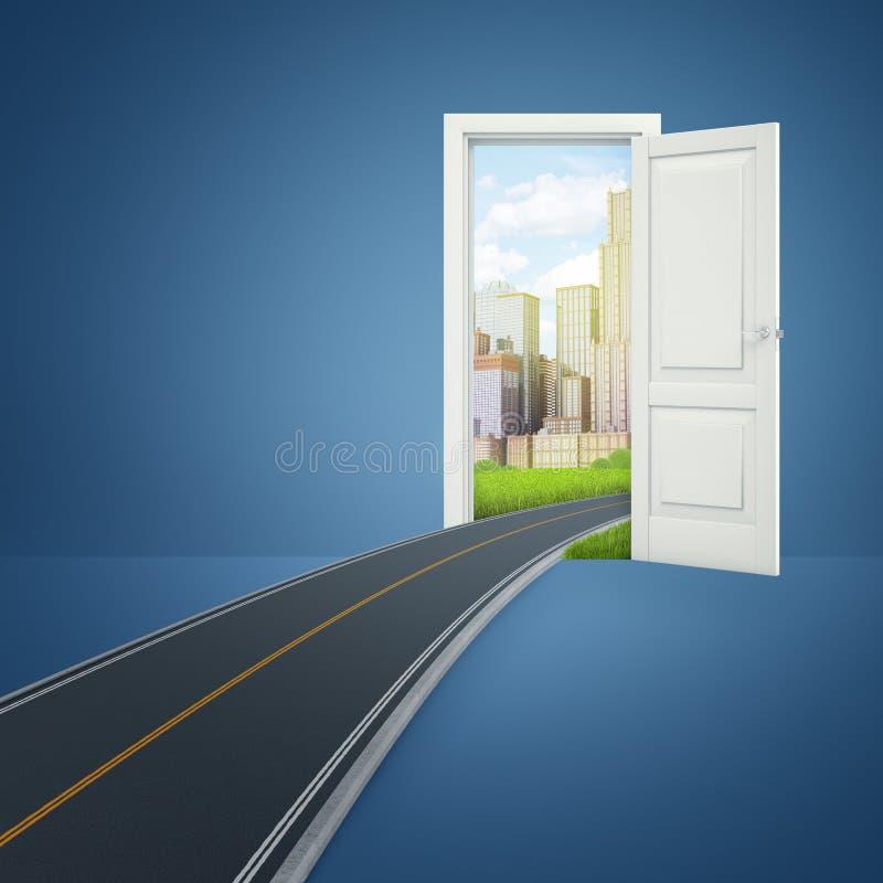 перевод 3d двери которая раскрывает на красивом современном городе с дорогой асфальта водя от города внутри комнаты стоковые фотографии rf