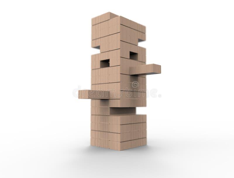 перевод 3D деревянных блоков возвышается игрой изолированной в белой предпосылке иллюстрация штока