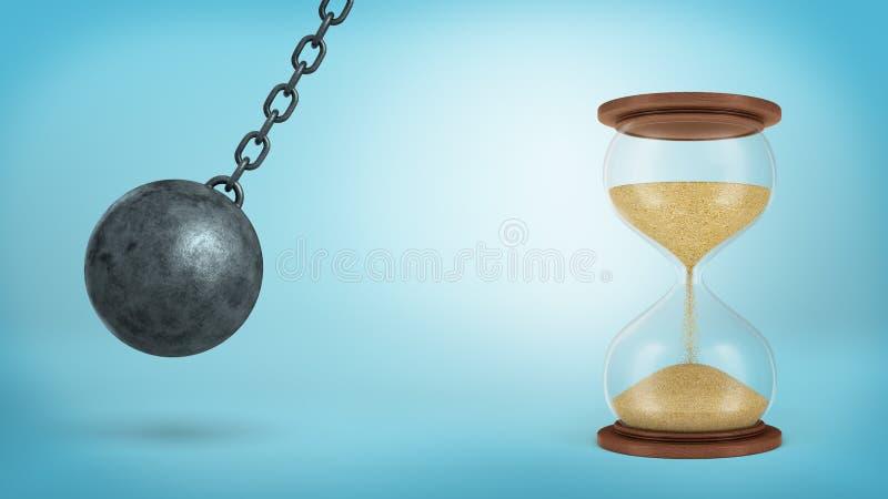 перевод 3d железного разрушая шарика отбрасывает на цепи готовой для того чтобы ударить большие полу-полные часы на голубой предп стоковое изображение rf