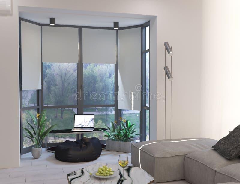 перевод 3d живя комнаты с панорамными окнами иллюстрация вектора
