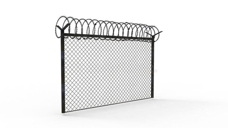 перевод 3d загородки с колючей проволокой изолированной в белой предпосылке бесплатная иллюстрация