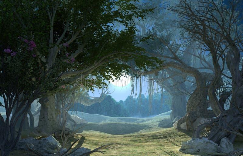 перевод 3d заколдованного темного леса в лунном свете иллюстрация вектора