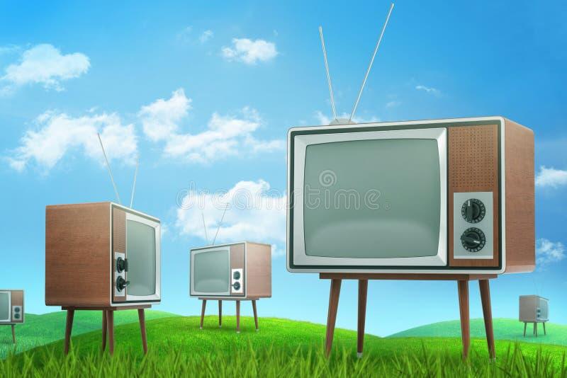 перевод 3d зеленого поля с много старых телевизоров под красивым голубым небом иллюстрация вектора