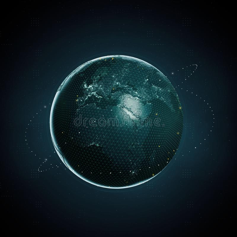 перевод 3d земли планеты как цифровое изображение на темной предпосылке Данные по clobal секретной валюты Blockchain большие иллюстрация вектора