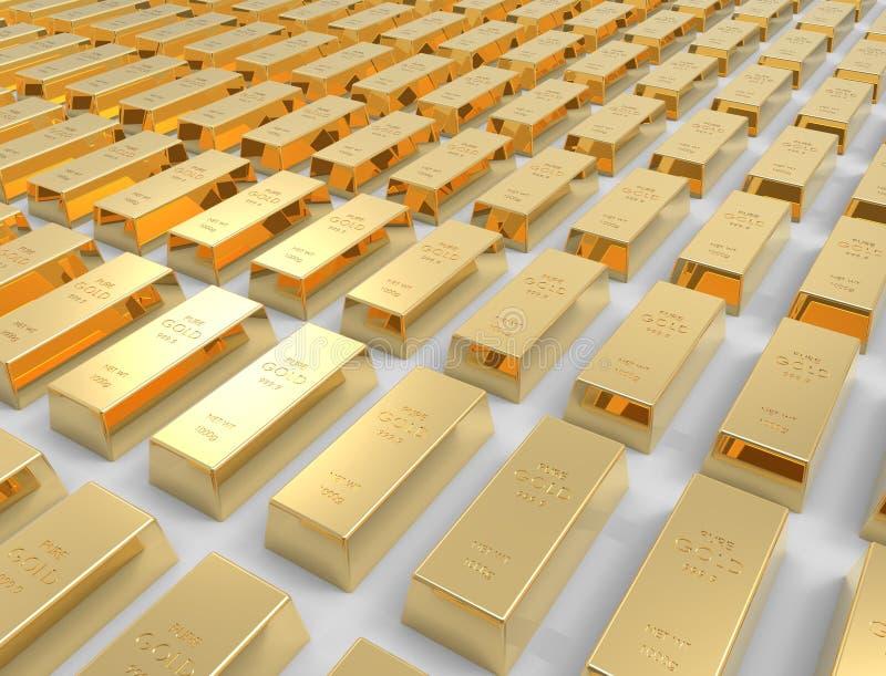 перевод 3D золота в слитках изолированного на белой предпосылке студии бесплатная иллюстрация
