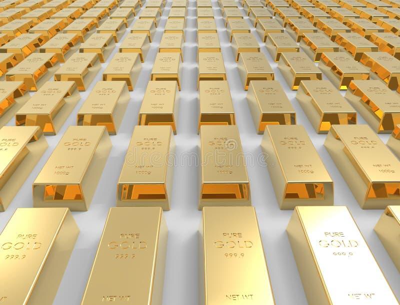 перевод 3D золота в слитках изолированного на белой предпосылке студии иллюстрация штока