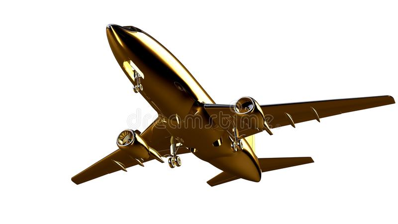перевод 3d золотого самолета дальше изолированного на белом backgro иллюстрация вектора