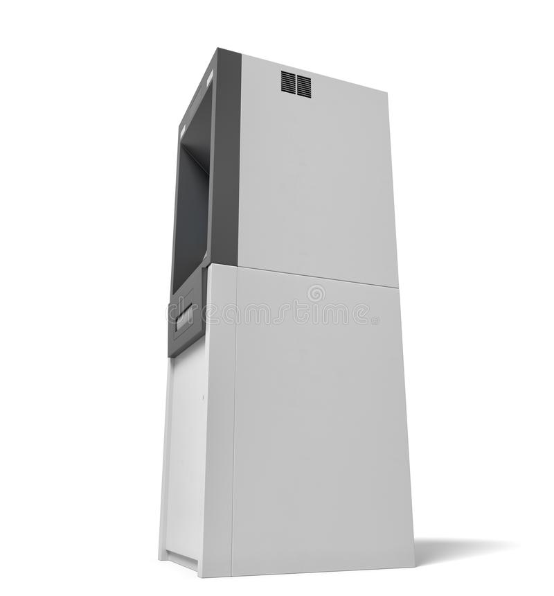 перевод 3d изолированной машины ATM банка с освещенным голубым экраном на белой предпосылке стоковое фото rf