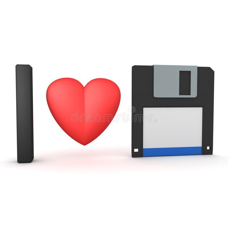 перевод 3D иллюстрации дискет любов I иллюстрация вектора