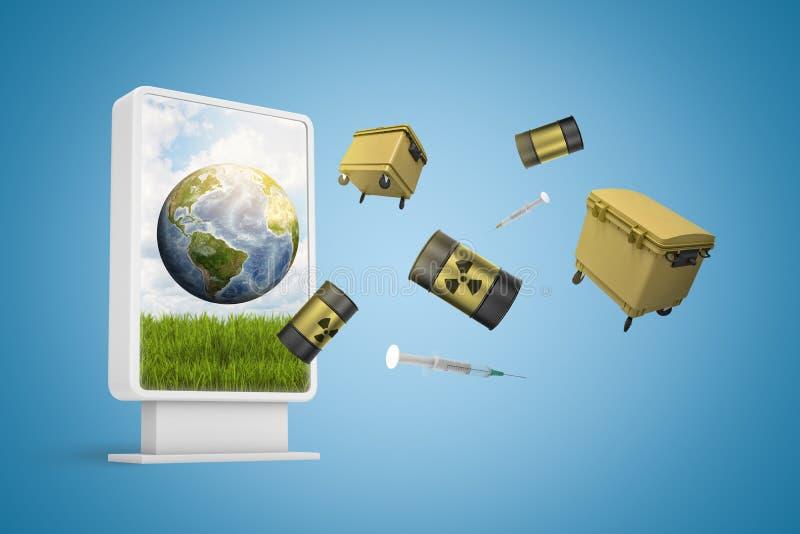 перевод 3d информационного дисплея показывая землю с мусорными баками и бочонками радиоактивных отходов летая вне от экрана стоковые фото