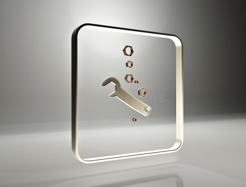 перевод 3d Ключ и гайка иллюстрация штока