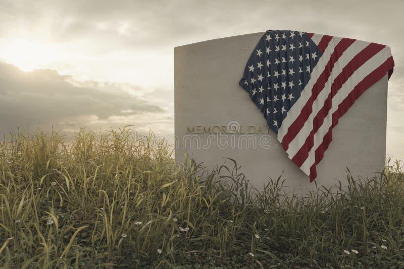 перевод 3d конца вверх по американскому флагу кладя на могилу на мирном луге цветка для того чтобы вспомнить День памяти погибших иллюстрация вектора