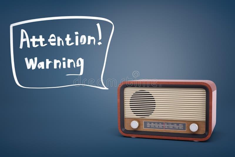 перевод 3d коричневого ретро радиоприемника около пузыря речи с вниманием слов и предупреждения внутрь его бесплатная иллюстрация