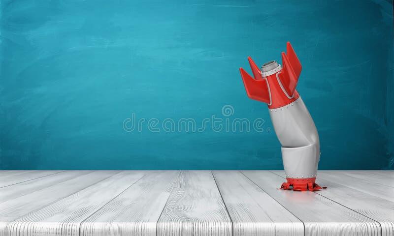 перевод 3d красного цвета и серебряной реалистической модели стоек ретро ракеты разбил в деревянный стол на сини иллюстрация вектора