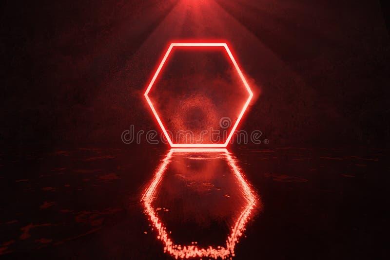 перевод 3d красного цвета облегчает форму шестиугольника с дымом против стены grunge и лоснистого пола иллюстрация штока