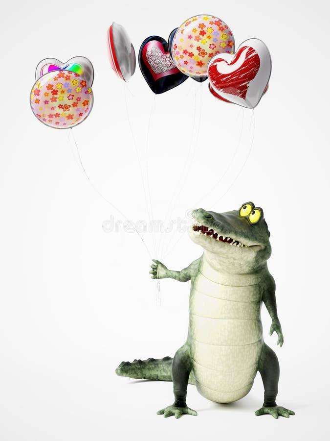 перевод 3D крокодила шаржа держа воздушные шары иллюстрация штока