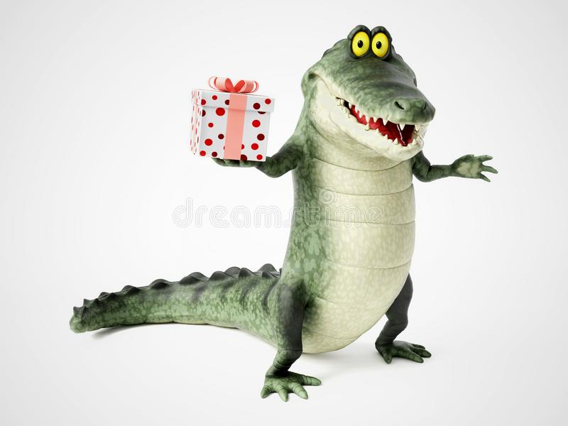 перевод 3D крокодила шаржа держа подарок иллюстрация вектора
