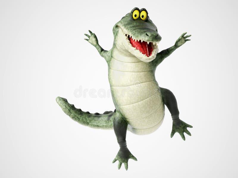 перевод 3D крокодила шаржа скача для утехи иллюстрация вектора