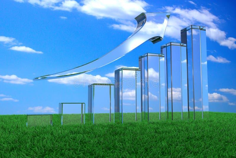 перевод 3d линейной диаграммы в виде вертикальных полос роста от стекла на зеленой траве бесплатная иллюстрация