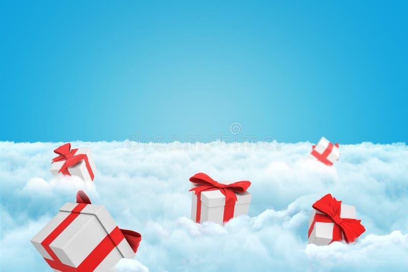 перевод 3d нескольких подарочных коробок на слое белых пушистых облаков с некоторым космосом экземпляра вышел в небо стоковые фото