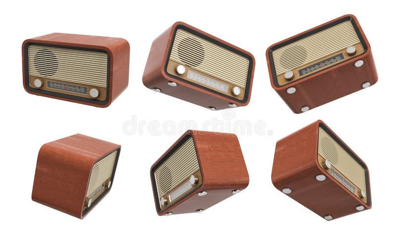 перевод 3d нескольких ретро сетноых-аналогов радиоприемников вися на белой предпосылке стоковое фото