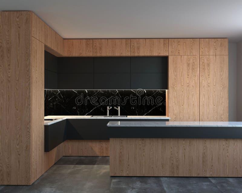 перевод 3d нового интерьера кухни hi-техника иллюстрация штока