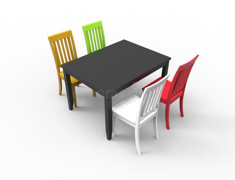 перевод 3D обеденного стола с 4 покрашенными стульями иллюстрация вектора
