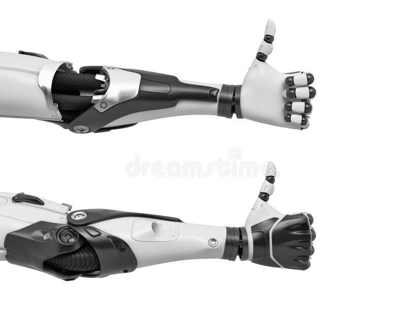 перевод 3d 2 оружий робота с пальцами руки в жесте больших пальцев руки-вверх утверждения иллюстрация вектора