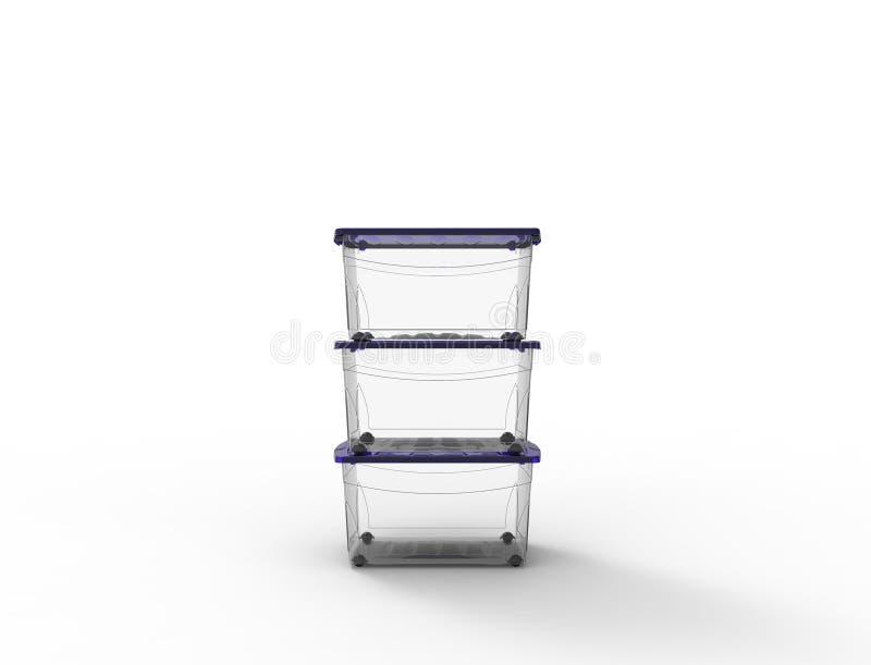 перевод 3d пластикового видит до конца ящик для хранения изолированный в белой предпосылке бесплатная иллюстрация