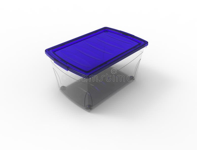 перевод 3d пластикового видит до конца ящик для хранения изолированный в белой предпосылке иллюстрация штока
