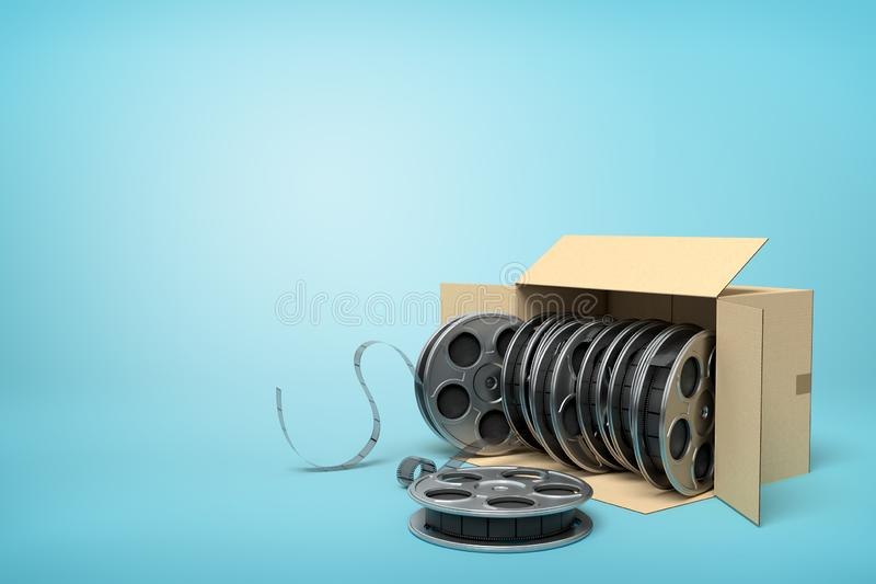 перевод 3d полного картонной коробки лежа sidelong вьюрков фильма на голубой предпосылке иллюстрация штока