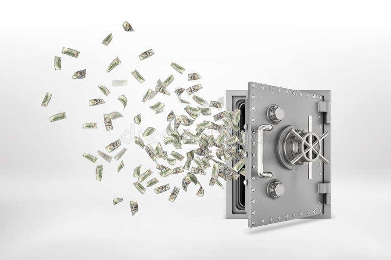 перевод 3d полу-раскрытой стальной безопасной коробки с много завертывает банкноты в бумагу доллара летая из его иллюстрация штока