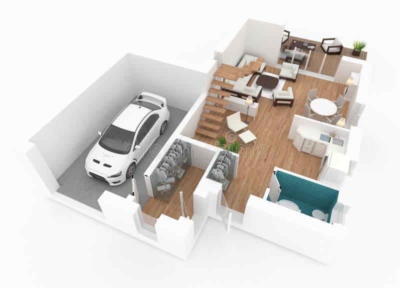 перевод 3d поставленной домашней квартиры иллюстрация штока