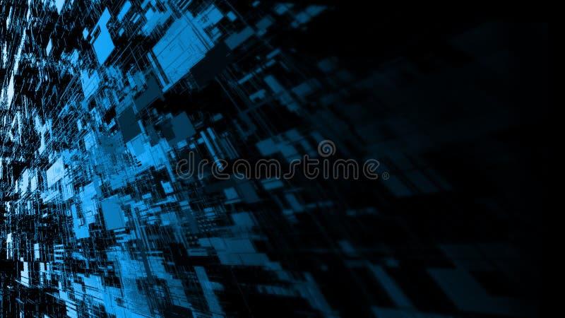 перевод 3D предпосылки абстрактной технологии Обои широкого экрана Точки цепи компьютера и запачкать двоичные данные стоковое изображение