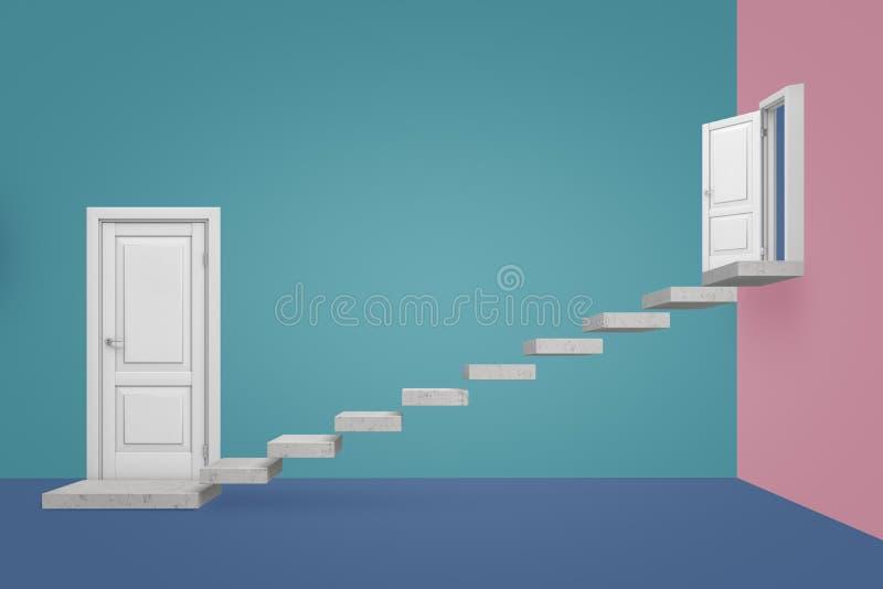 перевод 3d пустой комнаты с 2 дверями и мраморными шагами приостанавливанными в воздухе водя от одной двери вверх к стоковая фотография