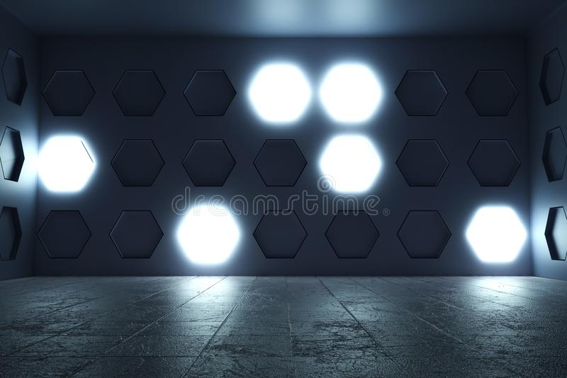 перевод 3d пустой комнаты с облегчает стену шестиугольника и треснутый иллюстрация штока