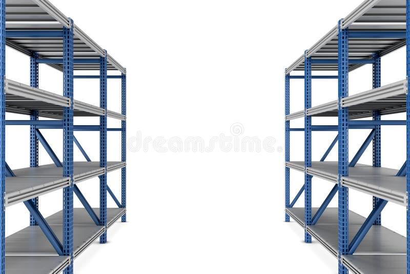 перевод 3d 2 пустых полок шкафа металла изолированных на белой предпосылке иллюстрация штока