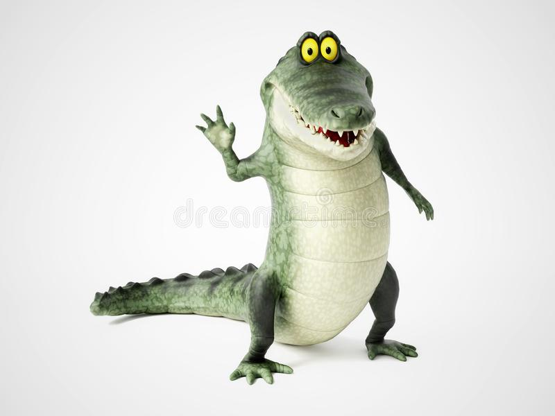 перевод 3D развевать крокодила шаржа бесплатная иллюстрация