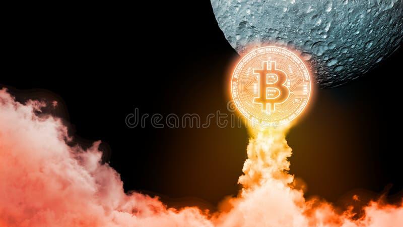 перевод 3D ракеты подобий Bitcoin BTC действуя поднять и возглавляющ для того чтобы лунатировать стоковое изображение rf