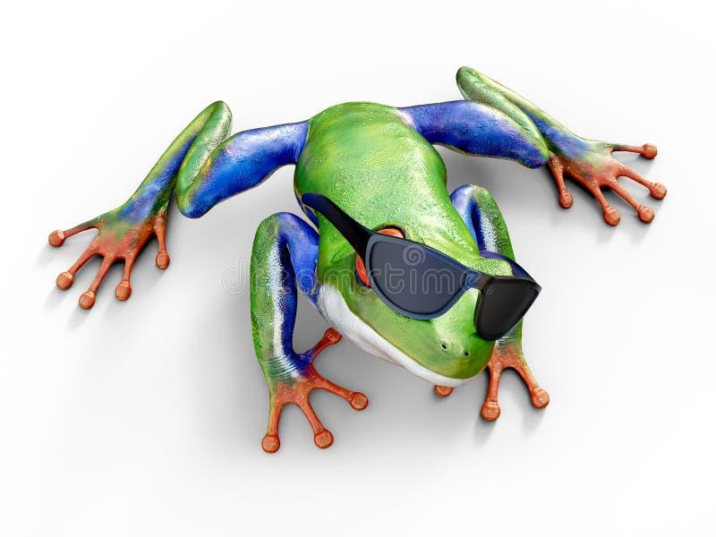 перевод 3D реалистического красно-наблюданного sunglasse древесной лягушки нося иллюстрация вектора