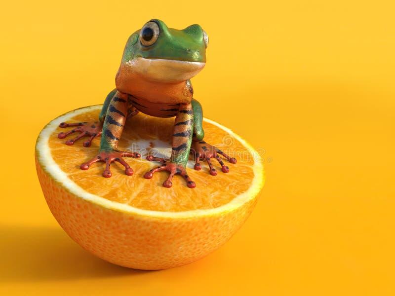 перевод 3D реалистической запертой лягушки лист иллюстрация штока