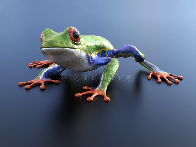 перевод 3D реалистической красно-наблюданной древесной лягушки иллюстрация вектора
