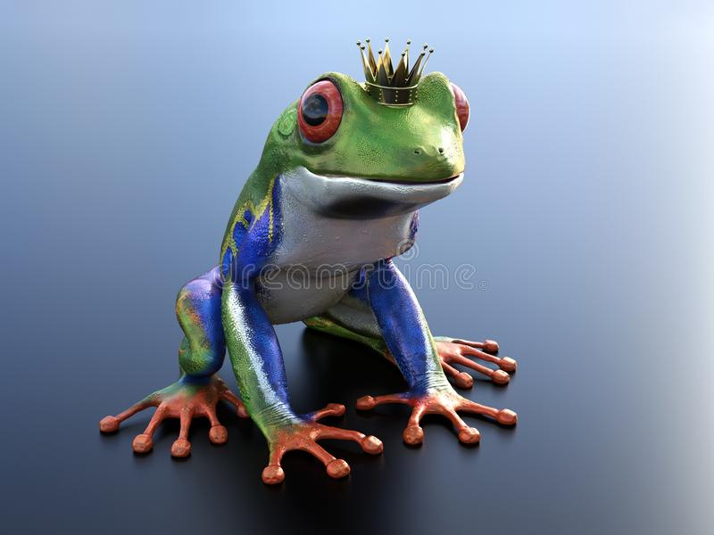 перевод 3D реалистической красно-наблюданной кроны древесной лягушки нося иллюстрация штока