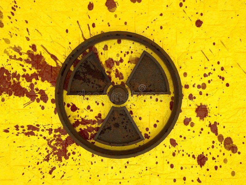 перевод 3d ржавого радиоактивного знака на желтой кирпичной стене с splatters крови иллюстрация вектора