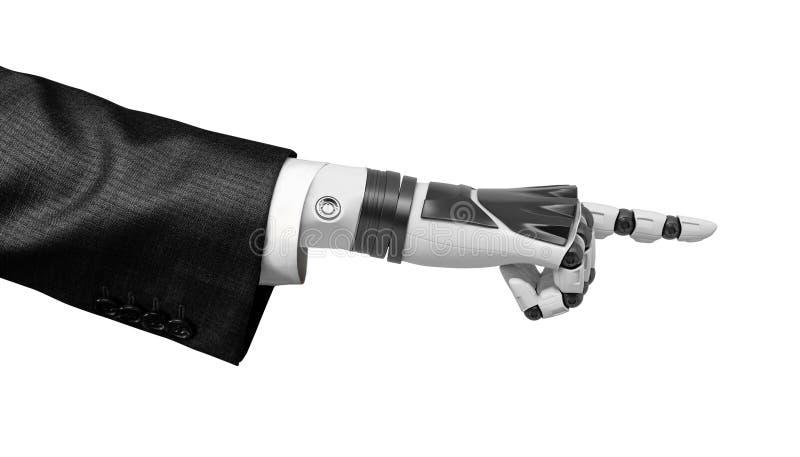 перевод 3d робототехнической руки в деловом костюме указывая палец изолированный на белой предпосылке иллюстрация штока