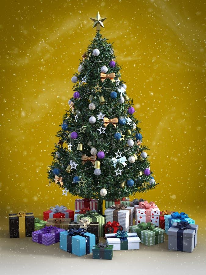 перевод 3D рождественской елки с подарками вниз бесплатная иллюстрация