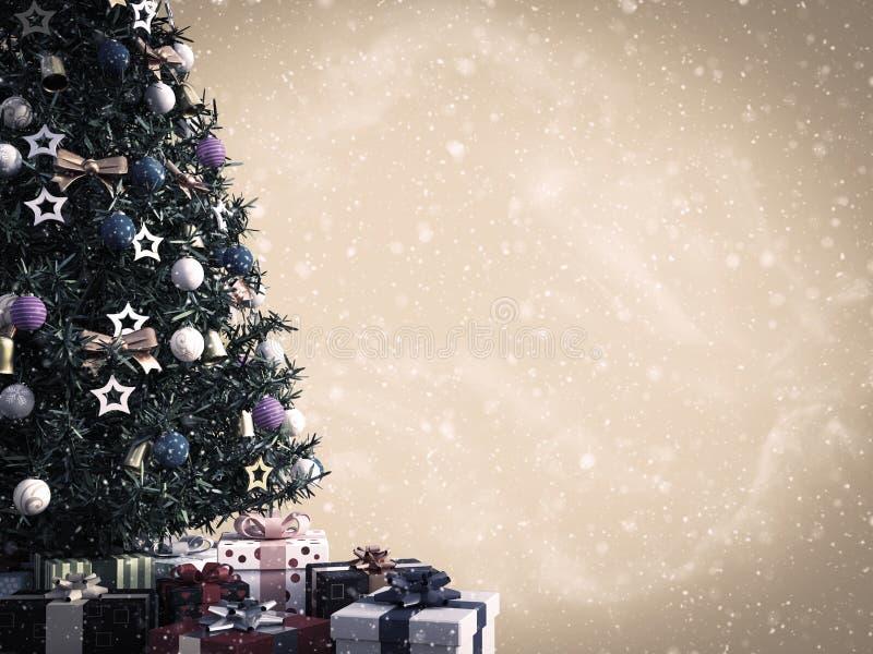 перевод 3D рождественской елки с подарками вниз иллюстрация вектора
