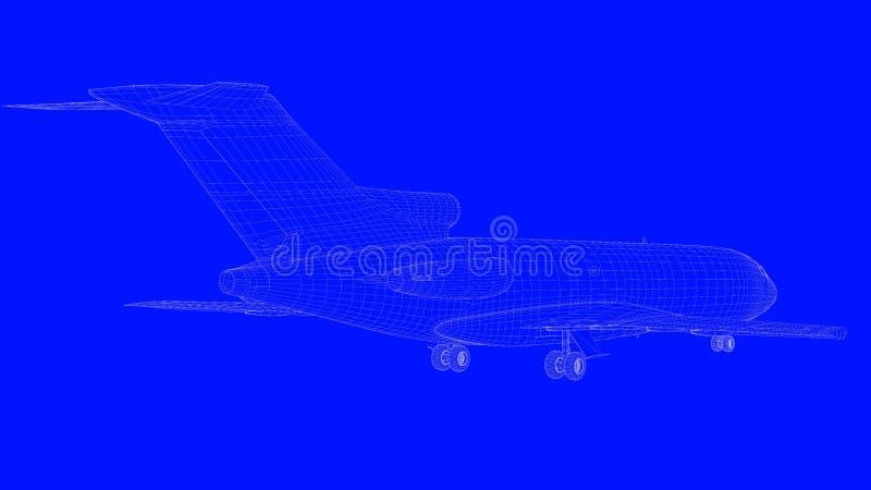 перевод 3d самолета светокопии в белых линиях на голубом b бесплатная иллюстрация